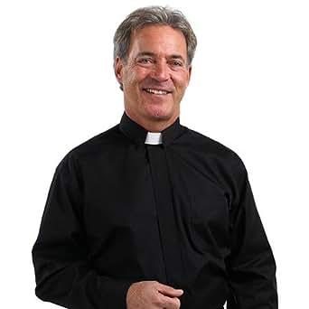 Men's Tab Collar Clergy Shirt Black 18-18 1/2 34-35