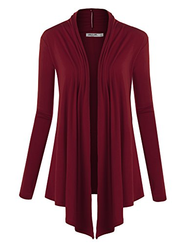 (WSK850 Womens Draped Open- Front Cardigan M Wine )