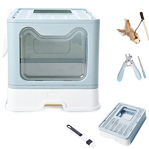 BotaBay Foldable Cat Litter Box with Lid, Extra Large Top Entry Cat Litter Box with Kitty Litter Scoop, Cat Toy, 2-1 Cleaning Brush, Pet Nail Clipper & Trimmer(Blue, 20