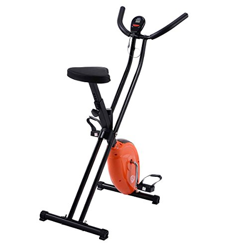 Goplus Exercise Bike Magnetic Resistance Upright Folding Bicycle Cardio Workout Cycle Fitness Stationary for Home (Orange)