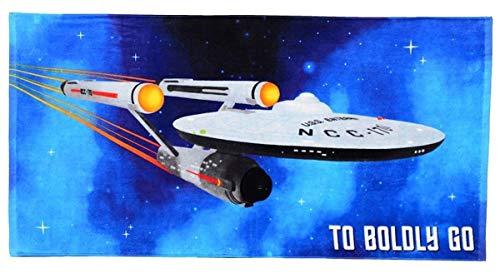 Robe Factory Unisex Star Trek Boldly Go Beach Towel, Blue Multi, 60 x 30