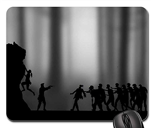 Mouse Pad - Zombies Silhouette Girl Boy Gun Halloween Scary -