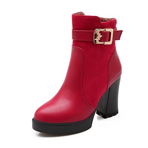 AllhqFashion Damen Niedrig-Spitze Rein Reißverschluss Hoher Absatz Stiefel mit Metallisch, Rot, 36
