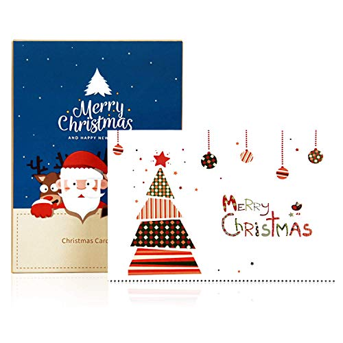 TOBEHIGHER Christmas Cards - Set of 36 Cards, 6 of Each Design, Versed Inside with White Envelopes, Boxed