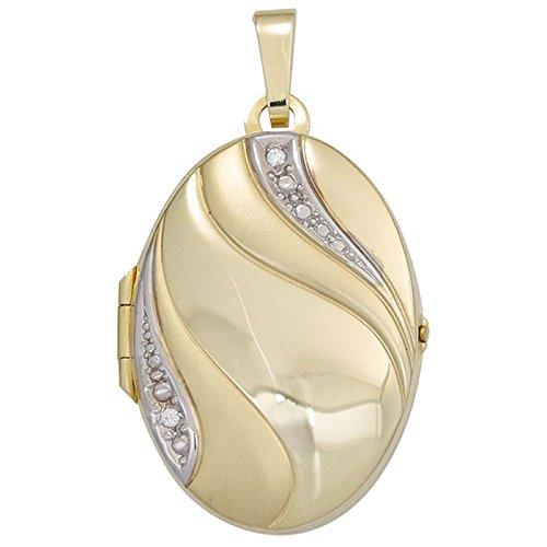 Médaillon pendentif amulette or jaune 333 avec zircones blanc ovale pour femme