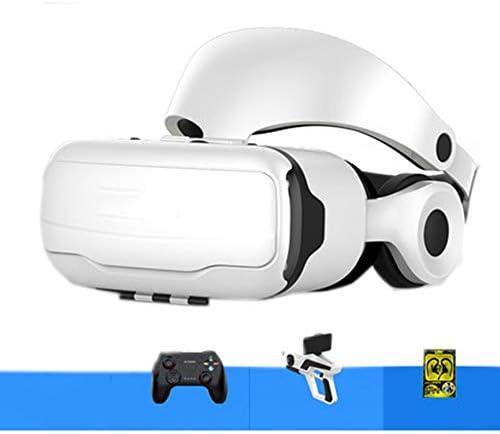 バーチャルリアリティのメガネ3D, オールインワンバーチャルインテリジェント3dメガネヘッドマウント調節可能ボタンパノラマデバイス。,White,A
