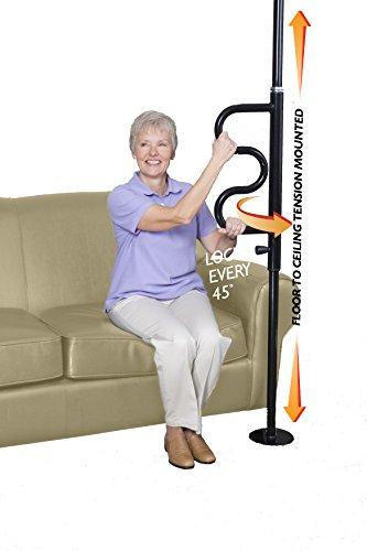 Stander Security Pole & Curve Grab Bar - Elderly Tension Mounted Transfer Pole + Bathroom Assist Grab Bar- Metallic Black by Stander (Image #2)