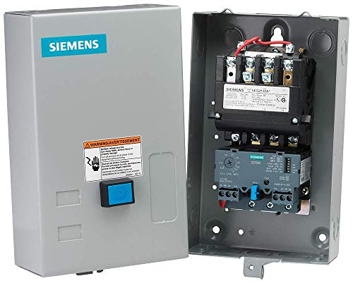 Siemens 14CUD32BA Heavy Duty Motor Starter, Solid State Overload, Auto/Manual Reset, Open Type, NEMA 1 General Purpose Enclosure, 3 Phase, 3 Pole, 0 NEMA Size, 5.5-22A Amp Range, A1 Frame Size, 110-120/220-240 at 60Hz Coil Voltage