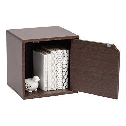 IRIS USA, QR-34D, Wood Storage Cube with Door, Brown Oak, 1 Pack by IRIS USA, Inc. (Image #5)