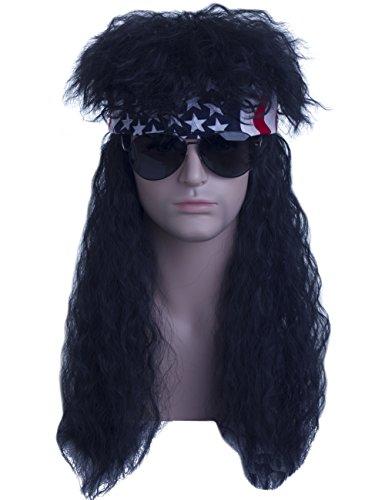 Angelaicos Unisex Long Black Mullet Wig 70s 80s Vintage Retro Rocker Punk Fluffy Disco Wigs Bandana