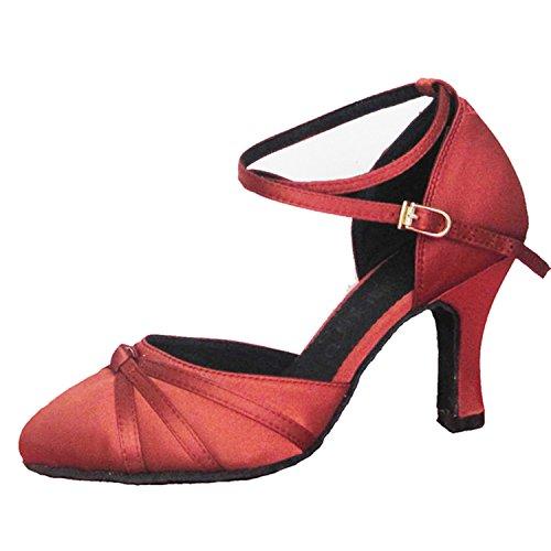 YFF Geschenke Frauen Dance Shoes Ballroom Latin Dance Tango Tanz Shoes 7CM,Red,34