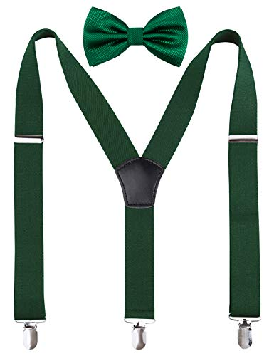 Men's Solid Bow Ties & 3.5 cm Suspenders Sets, Dark -