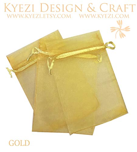 200 Pcs Gold 4x6 Sheer Drawstring Organza Bags Jewelry Pouches Wedding Party Favor Gift Bags Gift Bags Candy Bags [Kyezi Design and Craft] ()