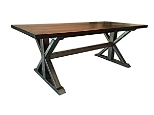 Walnut and Metal Trestle Table