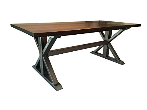 (Walnut and Metal Trestle Table)