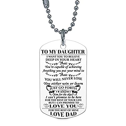 - 41sFLxSdWYL - to My Daughter I Want You to Believe Love Dad Dog Tag Military Air Force Navy Coast Guard Necklace Ball Chain Gift for Best Daughter Birthday Graduation Stainless Steel