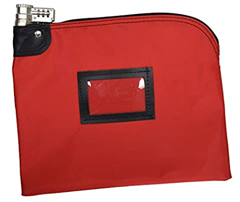 Locking Bank Bag Laminated Nylon Combination Keyed Security System (Red) - Locking Security Bags