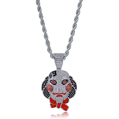 LC8 Jewelry Hip Hop Iced Out Bling 6ix9ine Chain Clown 69 Tekashi69 Saw Billy Pendant Exquisite Necklace with 24