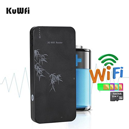 KuWFi Smart Moblie Power Bank 3G WIFI Router Mobile wifi Hospot Wireless Router RJ45 port with SIM Card slot Support WCDMA 2100Mhz Router With TF Port/RJ45 Lan port (not inclued SIM Card)
