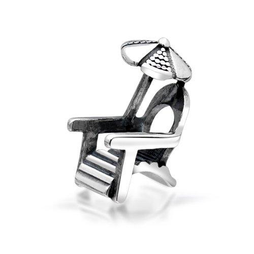 Everbling Beach Chair Umbrella 925 Sterling Silver Bead Fits European Charm Bracelet ()
