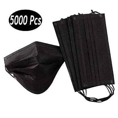 Anedozs 50 Piece 4 Strati di protezione per il viso con passanti per le orecchie, Nero attrezzatura antipolvere esterna, protezione della respirazione a prova di polvere usa e getta