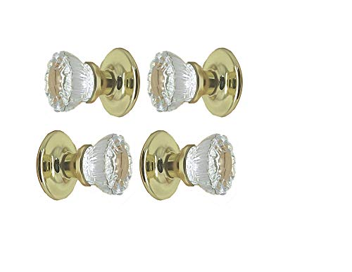 Two Sets - Perfect Reproduction of the 1920 Depression Crystal Glass FRENCH DOOR Knob Sets - Each lot contains all the hardware for knobs on both sides of Two French Door. ()