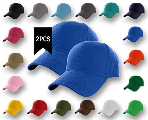2 Pcs Plain Baseball Cap Classic Adjustable Plain Hat Men Women Unisex 6-Panel Hat Outdoor Sports (20+Colors) (Royal 2 Pack)
