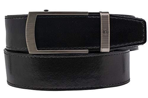 2019 Bond EDC Black Leather Gun Belt for Men with High Strength Nylon Backing and Ratchet Buckle - Nexbelt Ratchet System Technology