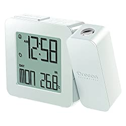 Oregon Scientific PROJI Projection Atomic Clock with Indoor Temperature Calendar Alarm - White