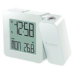 Oregon Scientific PROJI Projection Atomic Clock with Indoor Temperature Calendar Alarm - White