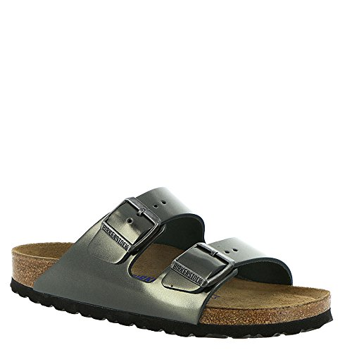 Birkenstock Unisex Arizona Metallic Anthracite Leather Sandals - 10-10.5 2A(N) US Women/8-8.5 2A(N) US - Open Heart Station