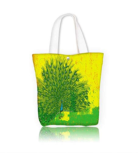 canvas tote bag Peacock reusable canvas bag bulk for grocery,shopping  W21.7xH14xD7 INCH