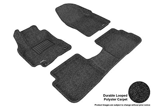 Carpet Deluxe Vibe - 3D MAXpider (UACE-PNU-536) Black Classic Deluxe Looped Polyester Carpet Floor Mat Front and Back for PONTIAC VIBE 09-10