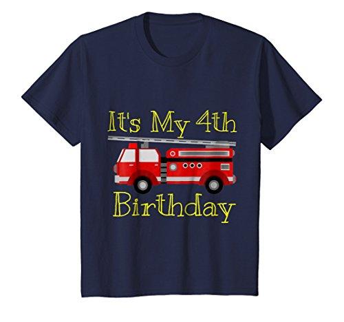 4th Birthday Kids T-shirt - Kids It's My 4th Birthday Firetruck T-Shirt 4 Navy