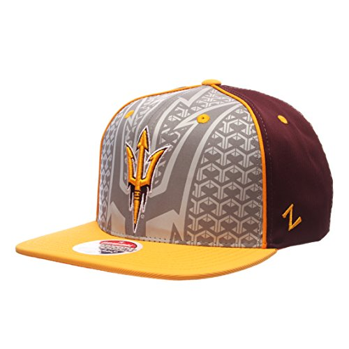 NCAA Arizona State Sun Devils Men's Reflector Snapback Hat, Silver/Maroon, Adjustable