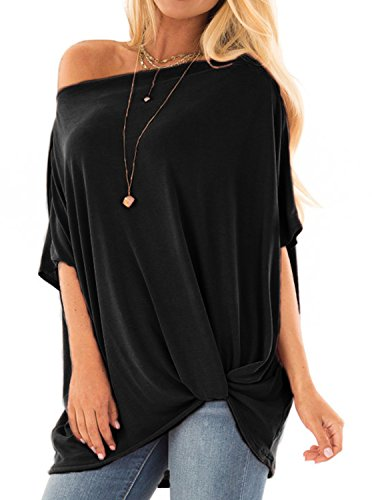 Womens Casual Twist Knot Front Loose Off The Shoulder Dolman Tunic Tops T Shirts Blouse Black 2X-Large