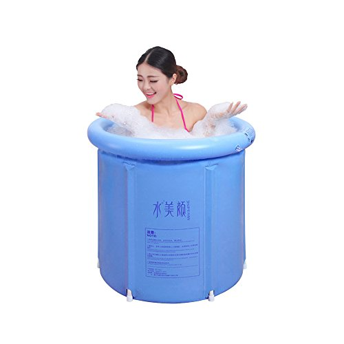 (EOSAGA Inflatable Portable Tubs PVC Bath Tub Portable Soaking Tub Inflatable Spa For Adult Bathroom With Air Pump Large Blue)