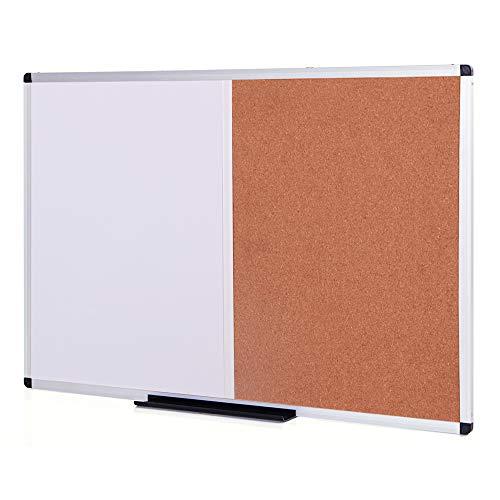 VIZ-PRO Magnetic Dry Erase Board and Cork Notice Board Combination, 36 X 24 Inches, Silver Aluminium Frame