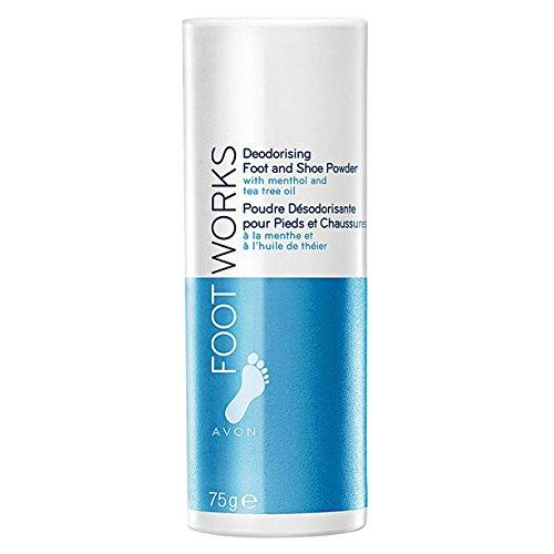 Foot Works Menthol & Tea Tree Oil Deodorising Foot & Shoe Powder [Talc] 75g Avon AVON Cosmetics