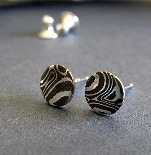 Mokume Gane Earrings: Amazon.com: Mokume Gane Stud Earrings. Small Wood Grain