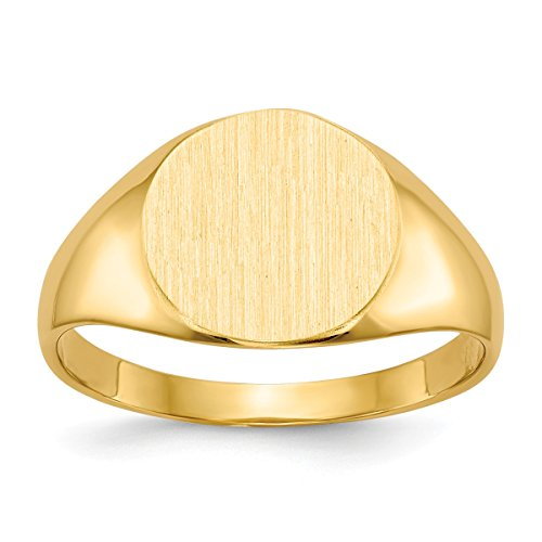 Roy Rose Jewelry Solid Closed Back 9.8mm Round Signet Ring Custom Personailzed with Free Engraving Available of Initials or Monogram ~ Size 4 in Solid 14K Yellow Gold 14k Signet Mens Ring