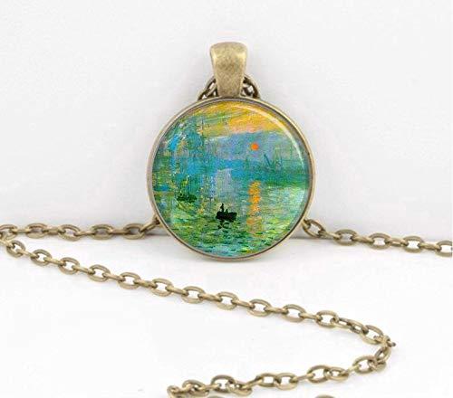 (Bloody devil Art Picture Necklace,Claude Monet Impression Sunrise Pendant Necklace or Key Ring Art Pendant,Gift of Love)