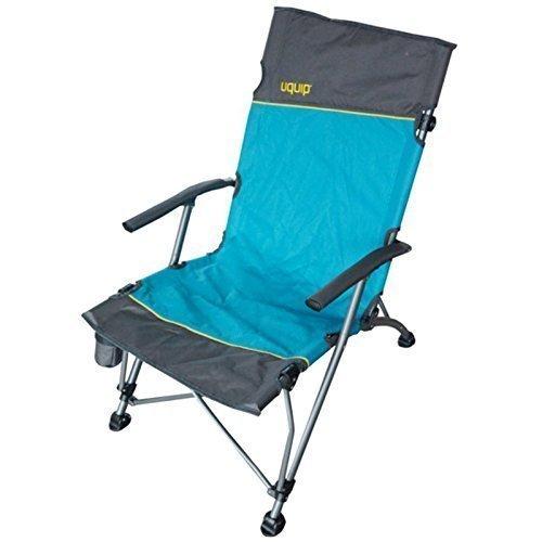 Campingstuhl mit Lounge-Charakter + Getränkehalter   extra hohe Rückenlehne 99cm  stabile Ausführung bis 120kg   breite Füße für weichen Boden   robuste Transporttasche   Uquip Sidney 244003