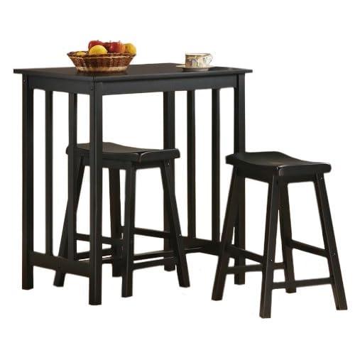 bar stool kitchen table minimalist piece black finish table saddle bar stool set table amazoncom