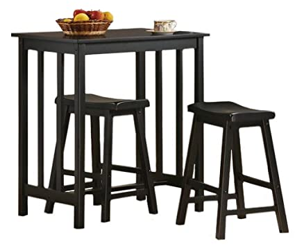 Amazon Com 3 Piece Black Finish Table Saddle Bar Stool Set