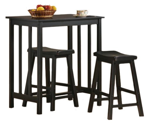 online store e4611 98438 3 Piece Black Finish Table & Saddle Bar Stool Set