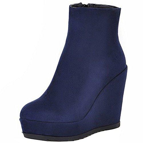 Boots Heel Wedges Women Blue Platform High Ankle KemeKiss Fashion TfWc0n0F