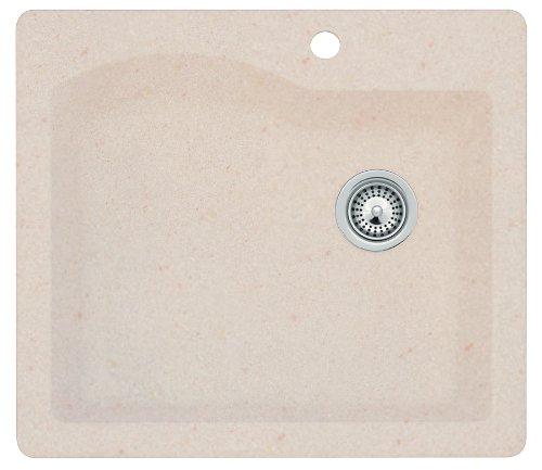 Swanstone QZ02522SB.076 Granite 1-Hole Dual Mount Single-Bowl Kitchen Sink, 25-in L X 22-in H X 9-in H, Granito
