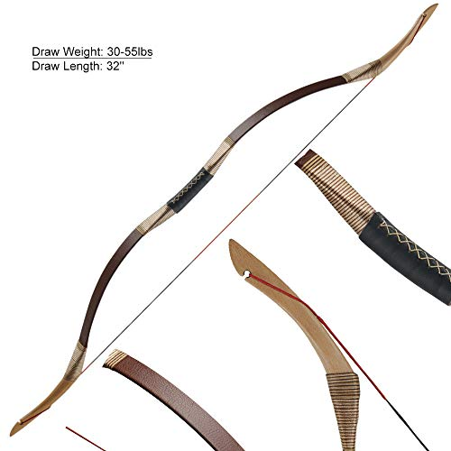 Huntingdoor Traditional Longbow Hunting Bow Recurve Bow 30-55LBS Archery Bows with String Brown (35lbs)
