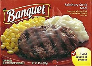BANQUET FROZEN TV DINNER SALISBURY STEAK 9.5 OZ PACK OF 6 by BANQUET At The Neighborhood Corner Store